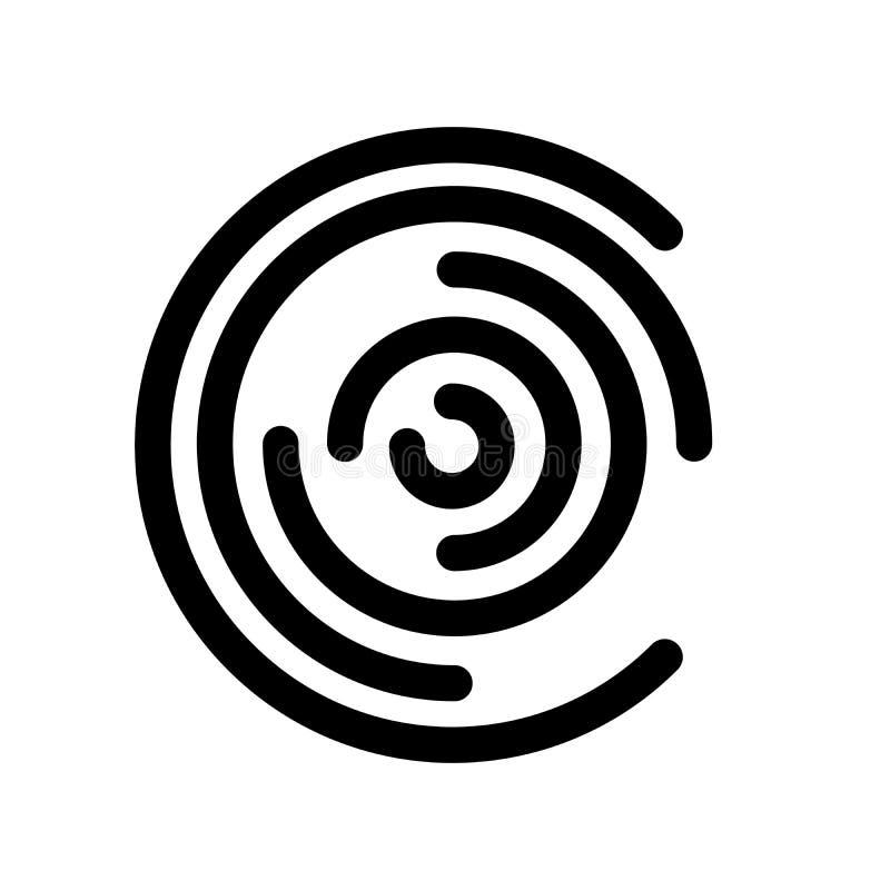 L'icône abstraite évoque le labyrinthe circulaire Élément de conception moderne d'ensemble Signe plat noir simple de vecteur avec illustration libre de droits