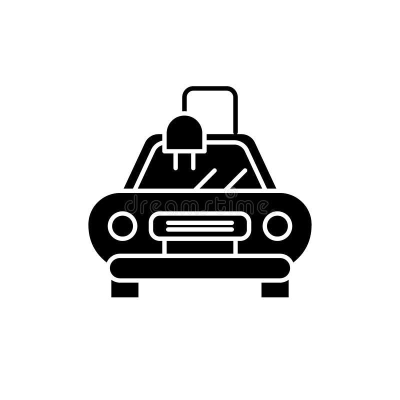 L'icône automatique électrique de noir de voiture, dirigent pour se connecter le fond d'isolement Symbole automatique électrique  illustration de vecteur