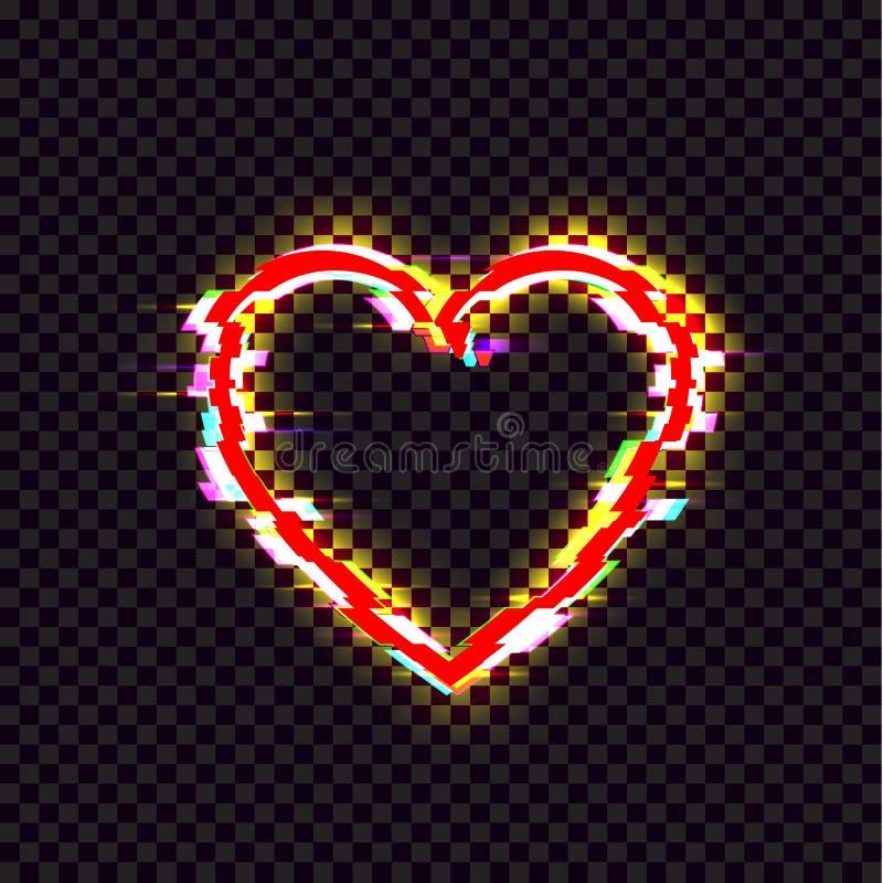 L'icône brillante de coeur de vecteur, effet de problème, signe lumineux lumineux rouge a isolé illustration libre de droits