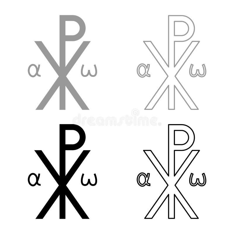 L'icône croisée religieuse d'Omega d'alpha du monogramme XI de symbole de Crismon salut de signe croisé de RO Konstantin Symbol S illustration de vecteur