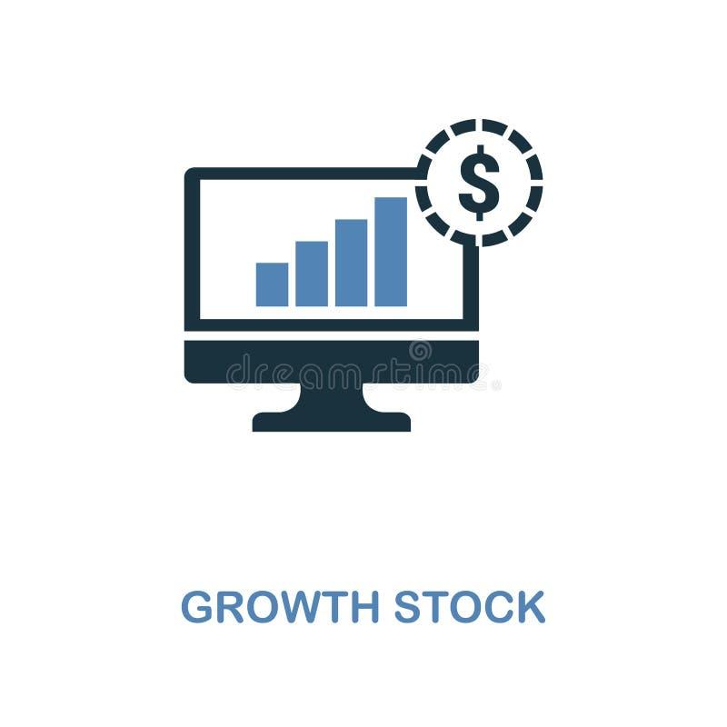 L'icône d'actions de croissance dans deux couleurs conçoivent Symboles parfaits de pixel de collection d'icône de finances person illustration de vecteur