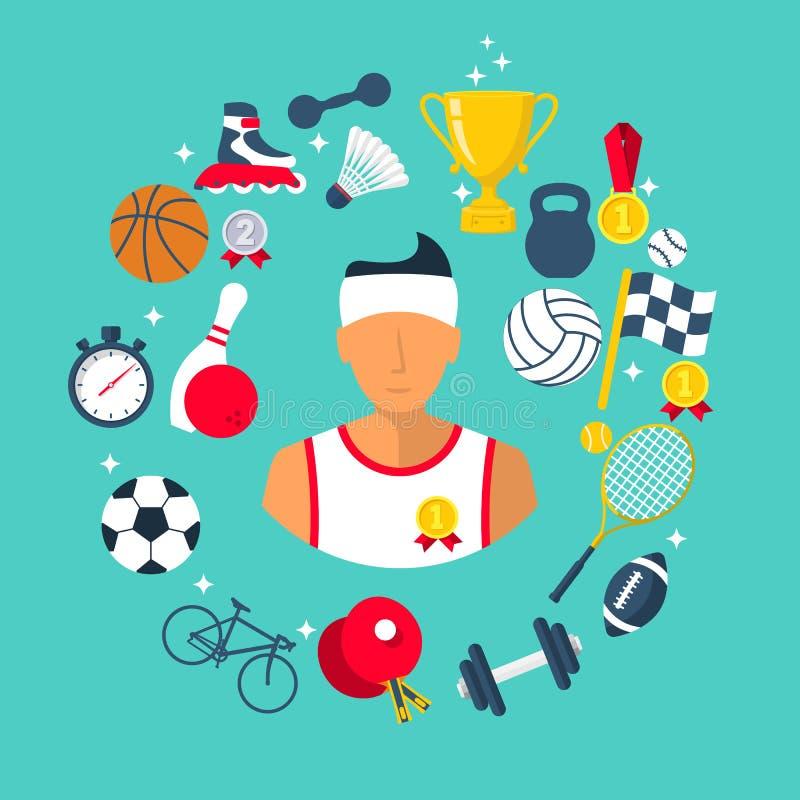 L'icône d'athlète folâtre des articles illustration stock