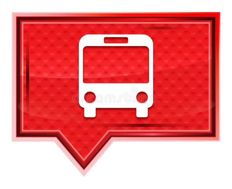 L'icône d'autobus brumeuse a monté bouton rose de bannière illustration stock