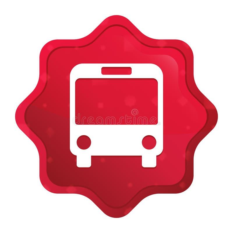 L'icône d'autobus brumeuse a monté bouton rouge d'autocollant de starburst illustration libre de droits