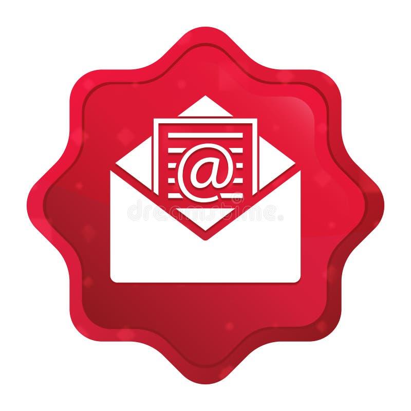 L'icône d'email de bulletin d'information brumeuse a monté bouton rouge d'autocollant de starburst illustration de vecteur