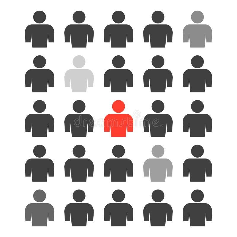 L'icône d'un groupe de personnes avec différents degrés de sélection de plusieurs personnes de la masse totale et d'une personne illustration libre de droits