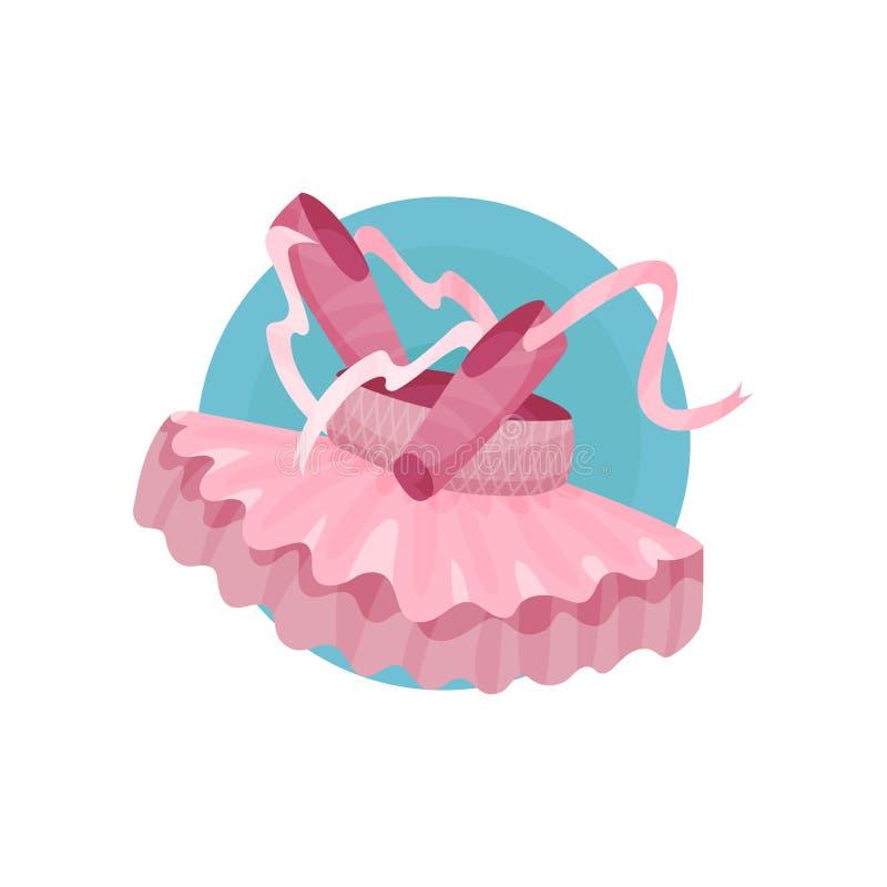 L'icône de ballet, les chaussures de ballet roses et la bande dessinée de tutu dirigent l'illustration illustration stock