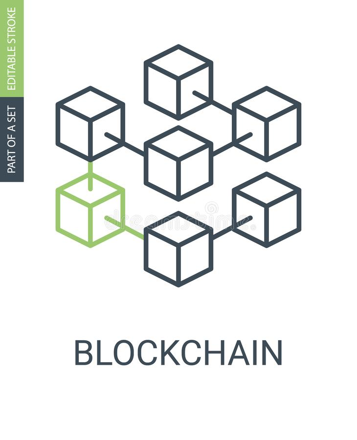 L'icône de Blockchain se compose des blocs reliés dans la chaîne illustration stock