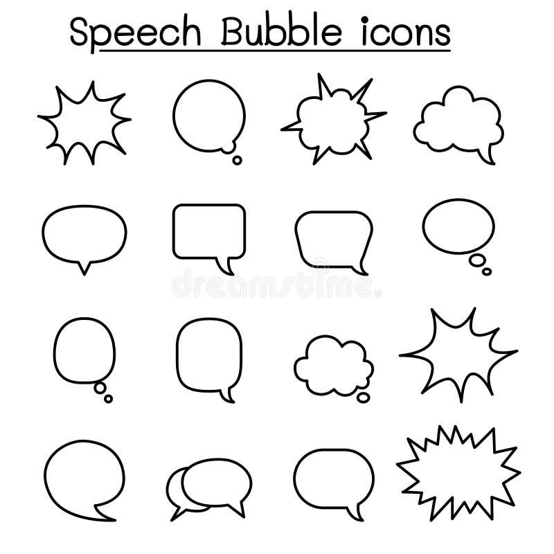 L'icône de bulle de la parole a placé dans la ligne style mince illustration libre de droits