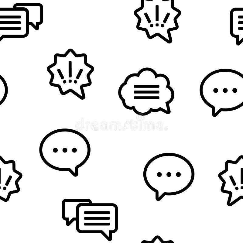 L'icône de bulle de la parole a placé le modèle sans couture de vecteur illustration stock