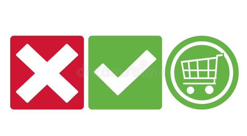 L'icône de caddie de contrôle de coutil boutonne le vert et le rouge illustration de vecteur