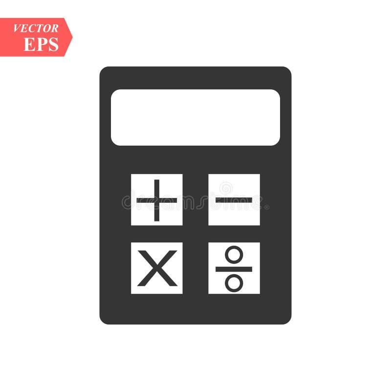 L'icône de calculatrice, noircissent l'illustration d'isolement de vecteur ENV 10 illustration stock