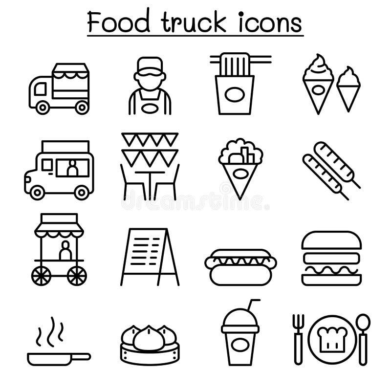 L'icône de camion de nourriture a placé dans la ligne style mince illustration stock