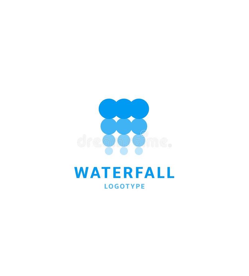L'icône de cascade, arrosent le calibre abstrait de logo, bulles bleues, la centrale hydroélectrique, illustration de vecteur sur illustration de vecteur