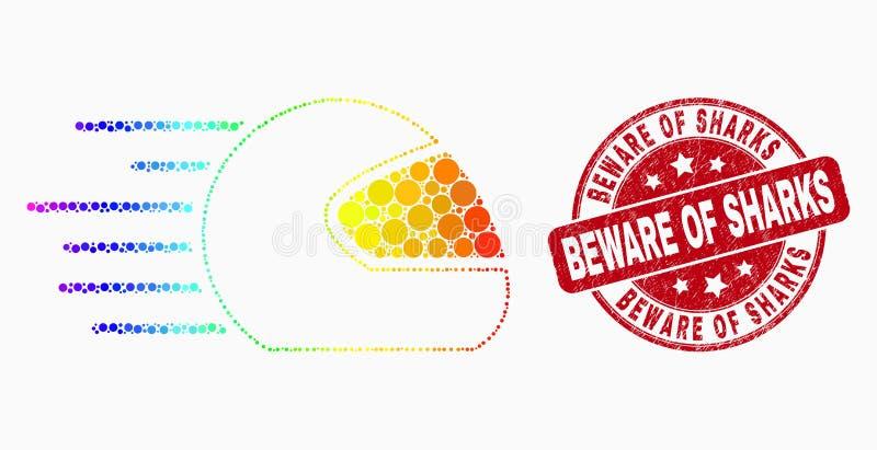 L'icône de casque de moto de vitesse de pixel de spectre de vecteur et a rayé pour prendre garde des requins emboutissent le join illustration stock