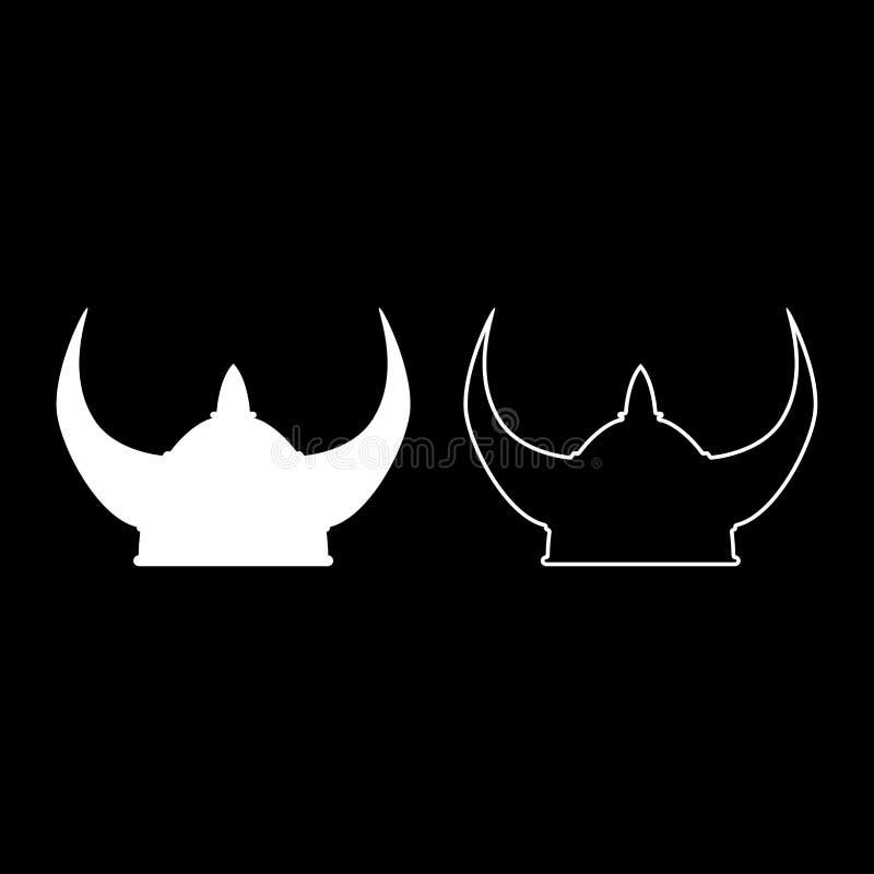 L'icône de casque de Viking a placé l'image simple de couleur de style plat blanc d'illustration illustration de vecteur