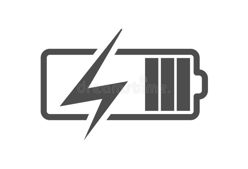 L'icône de charge de batterie, dirigent le chargeur de courant électrique Icône plate de charge d'accumulateur pour le smartphone illustration libre de droits