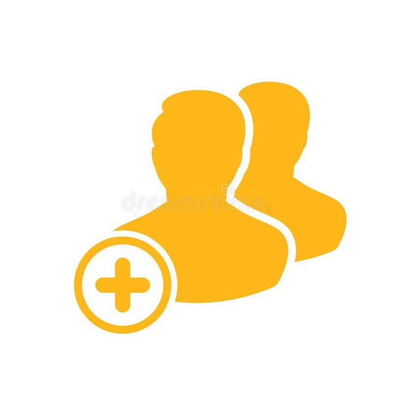 L'icône de client avec ajoutent le signe Icône de client et nouveau, plus, positif symbole illustration de vecteur