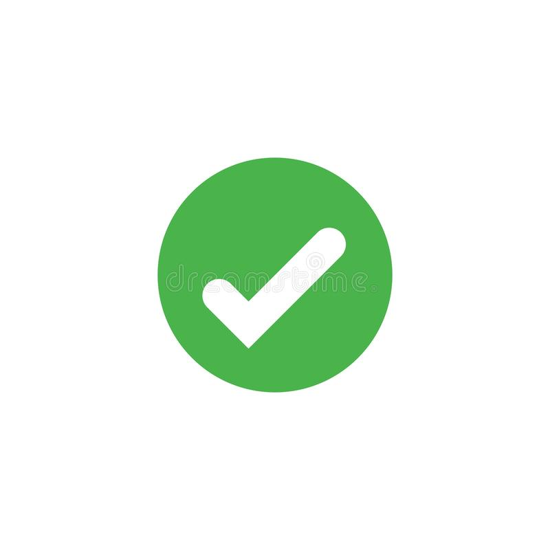 L'icône de coche de vecteur a isolé Reconnaissez le symbole Élément pour la carte d'interface d'appli de logo de conception ou le illustration libre de droits