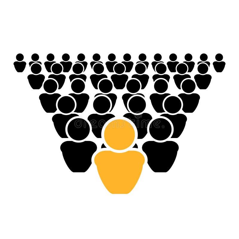 L'icône de concept de direction de vecteur, hors de la foule, soit différente, chef illustration stock