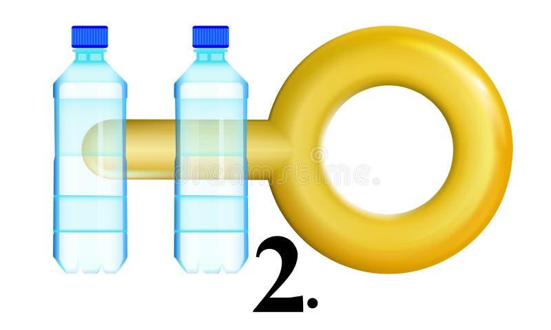L'icône de concept, eau propre vaudra son poids en or, deux bouteilles Logo de H2O Illustration de vecteur illustration de vecteur