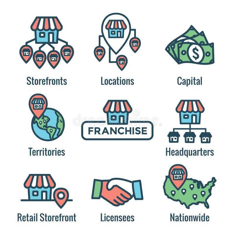 L'icône de concession a placé avec le siège social, sièges sociaux d'entreprise et illustration libre de droits