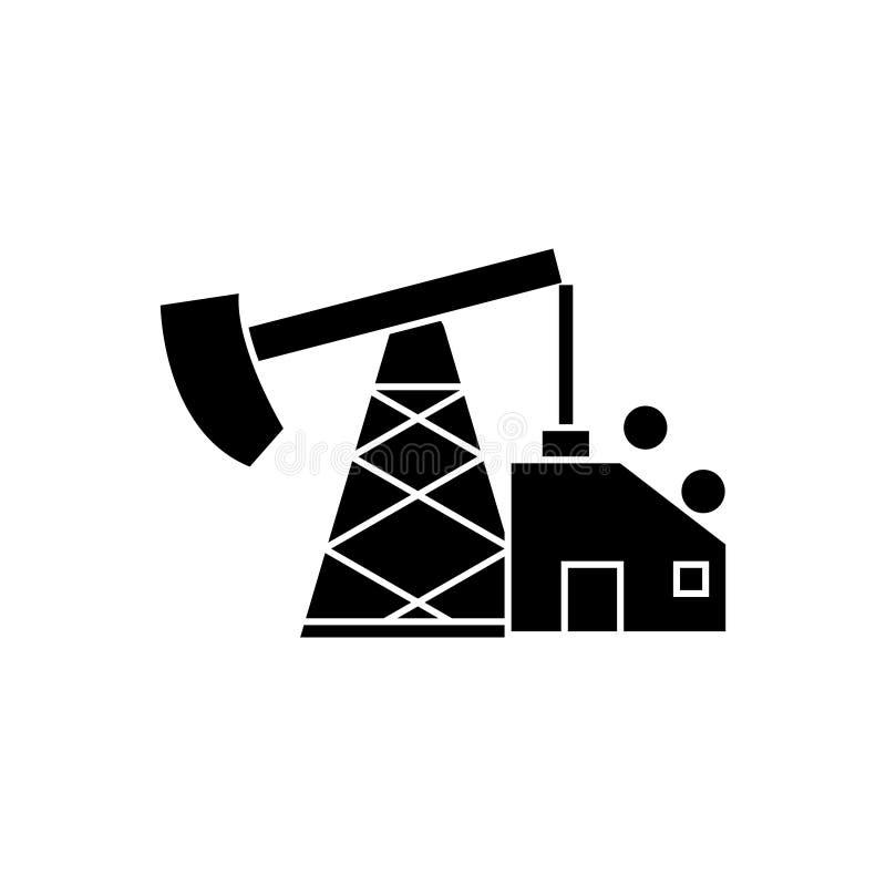 L'icône de cric de pompe à huile, illustration de vecteur, noir se connectent le fond d'isolement illustration libre de droits