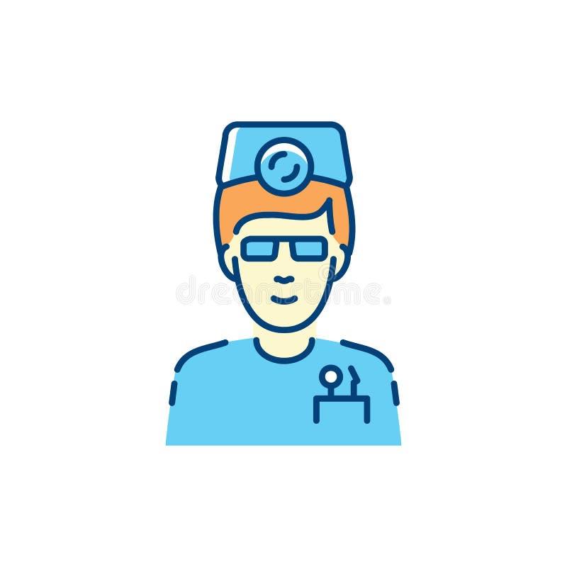 L'icône de dentiste, le thérapeute de chirurgien-dentiste et la stomatologie soignent le logo coloré Mince icônes soins dentaires illustration libre de droits