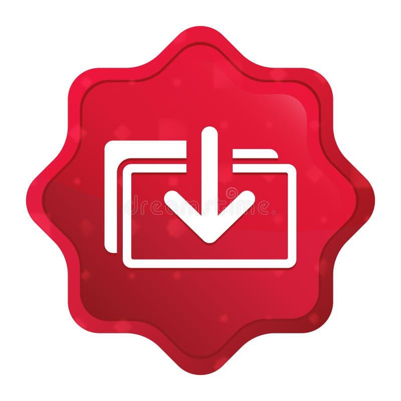 L'icône de dossiers de téléchargement brumeuse a monté bouton rouge d'autocollant de starburst illustration de vecteur