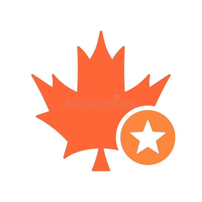 L'icône de feuille d'érable, nature laisse l'icône avec le signe d'étoile Icône de feuille d'érable et meilleur, préféré, évaluan illustration libre de droits