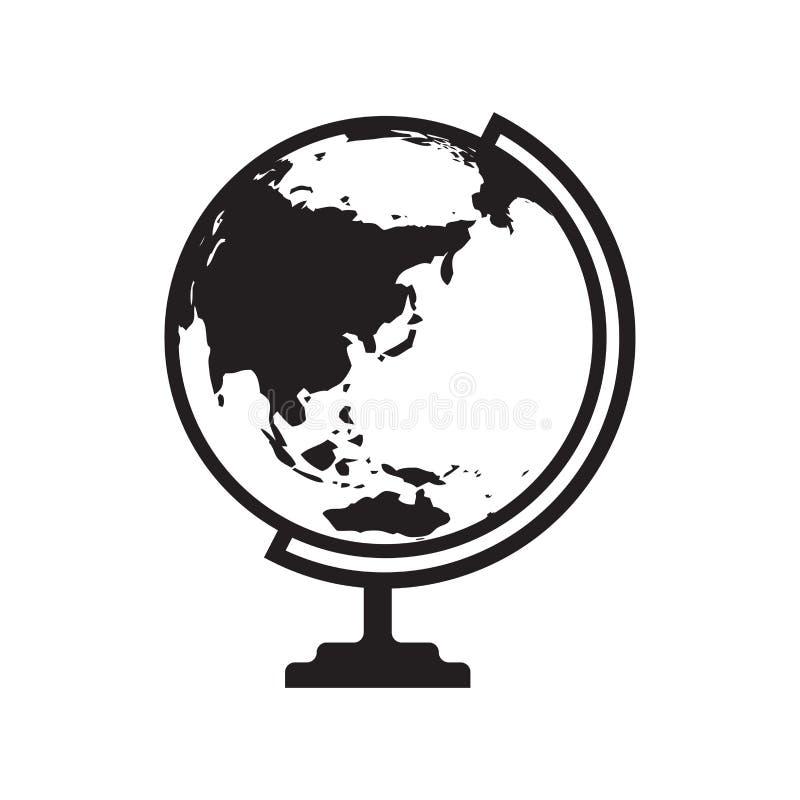 L'icône de globe avec l'Asie et l'Australie tracent - dirigez l'illustration illustration stock