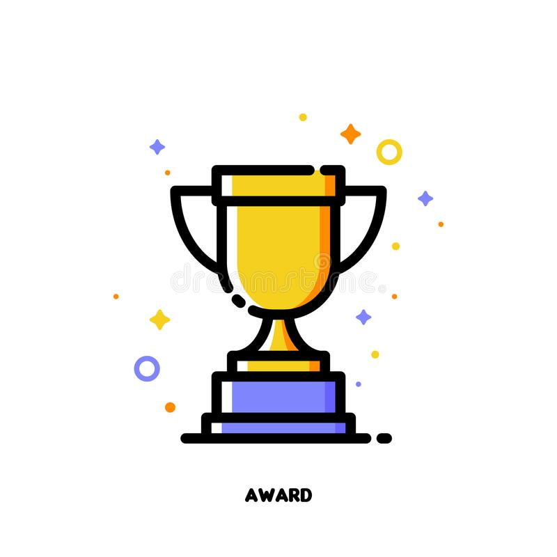L'icône de la tasse d'or de trophée pour des affaires attribue le concept illustration stock