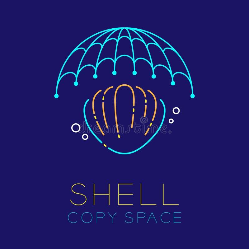 L'icône de logo de bulle de mollusques et crustacés, de filet de pêche et d'air décrivent la course illustration stock