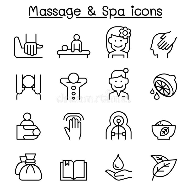 L'icône de massage et de station thermale a placé dans la ligne style mince illustration de vecteur