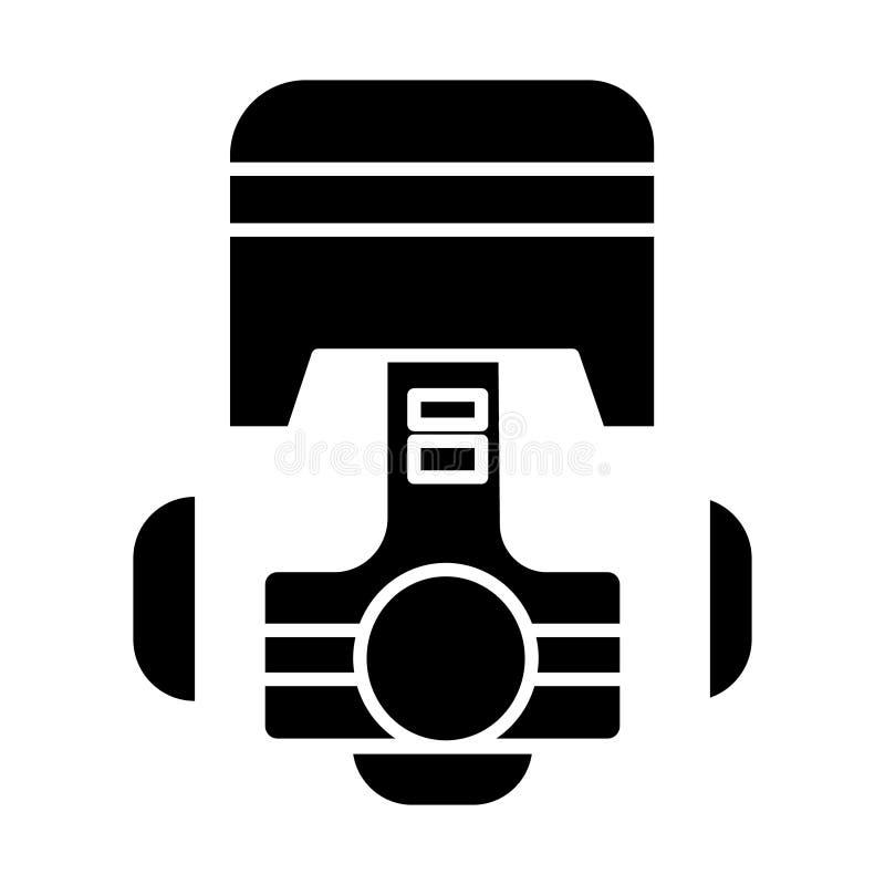 L'icône de moteur de voiture de réparation de piston, illustration de vecteur, noir se connectent le fond d'isolement illustration libre de droits