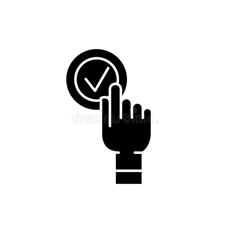 L'icône de noir de boîte de clic de clic, dirigent pour se connecter le fond d'isolement Symbole de concept de boîte de clic de c illustration libre de droits