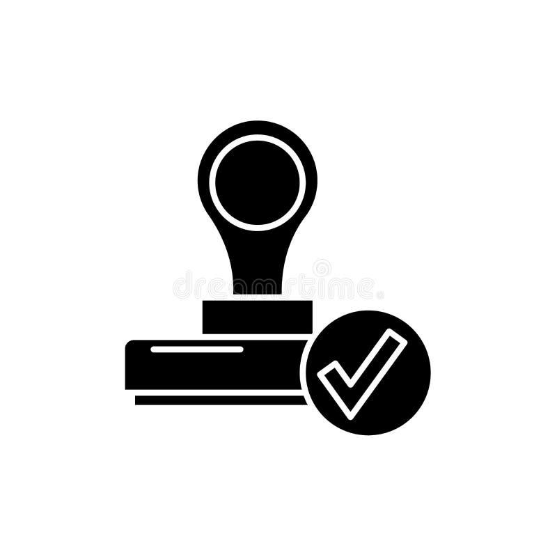 L'icône de noir de confirmation, dirigent pour se connecter le fond d'isolement Le symbole de concept de confirmation, illustrati illustration de vecteur