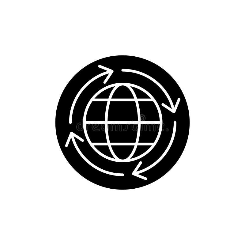 L'icône de noir d'économie mondiale, dirigent pour se connecter le fond d'isolement Symbole de concept d'économie mondiale, illus illustration de vecteur