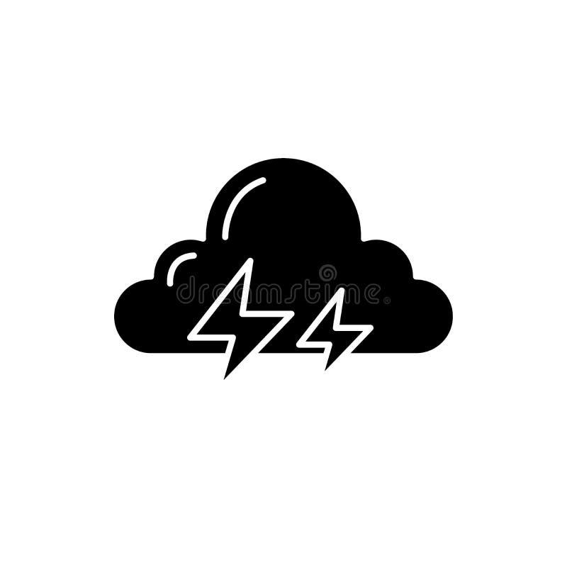 L'icône de noir d'orage, dirigent pour se connecter le fond d'isolement Symbole de concept d'orage, illustration illustration de vecteur