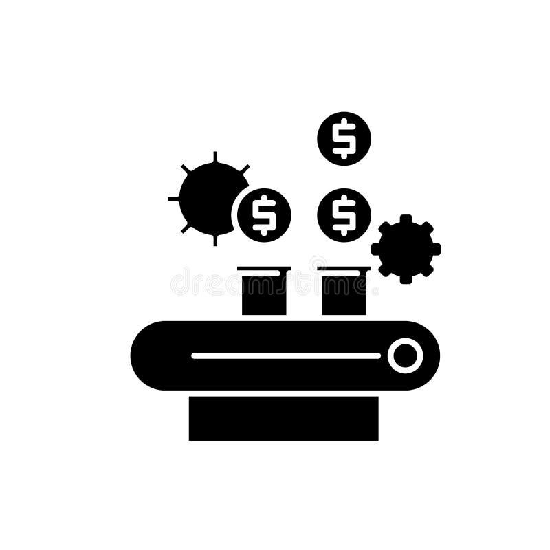 L'icône de noir de gestion de fortunes, dirigent pour se connecter le fond d'isolement Symbole de concept de gestion de fortunes, illustration stock