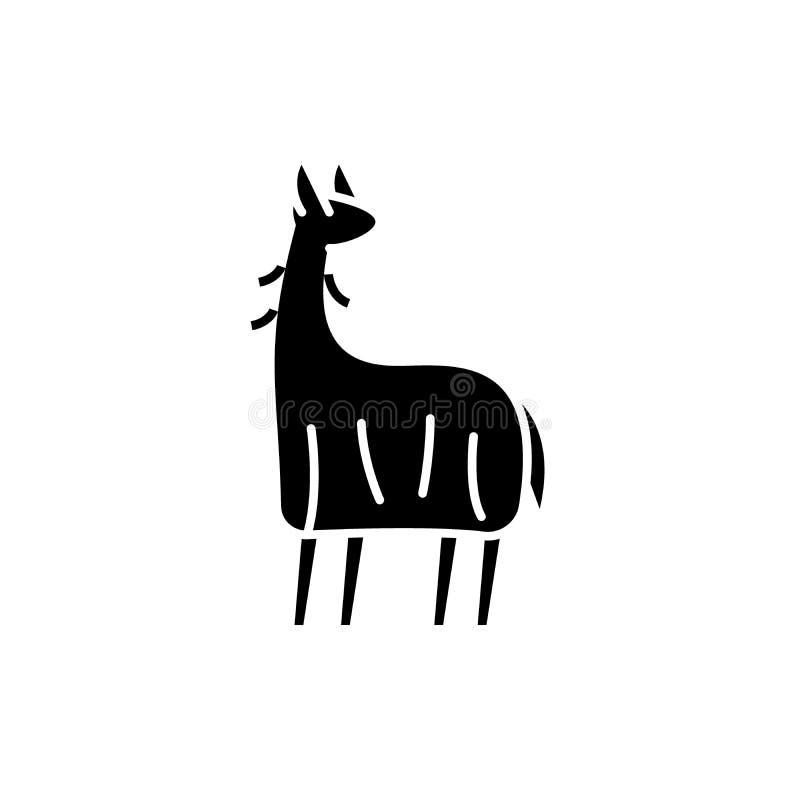 L'icône de noir de lama, dirigent pour se connecter le fond d'isolement Symbole de concept de lama, illustration illustration libre de droits