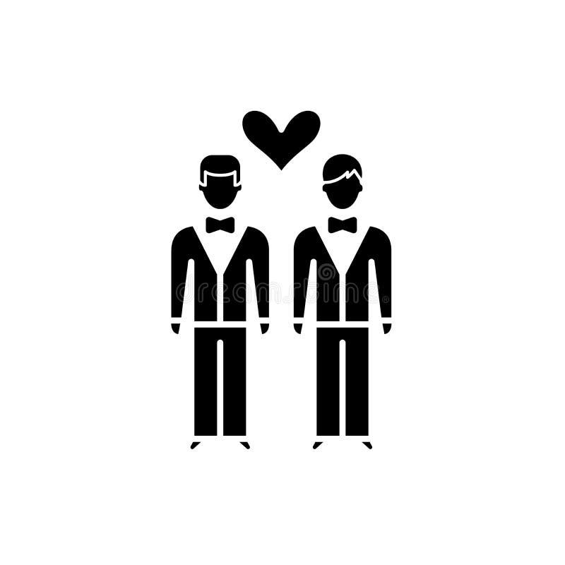 L'icône de noir de mariage homosexuel, dirigent pour se connecter le fond d'isolement Symbole de concept de mariage homosexuel, i illustration libre de droits