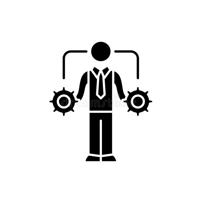 L'icône de noir de prise de décision d'affaires, dirigent pour se connecter le fond d'isolement Symbole de concept de prise de dé illustration libre de droits