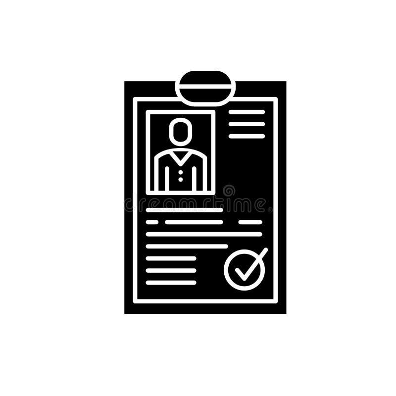 L'icône de noir de résumé de cv, dirigent pour se connecter le fond d'isolement Symbole de concept de résumé de cv, illustration illustration de vecteur