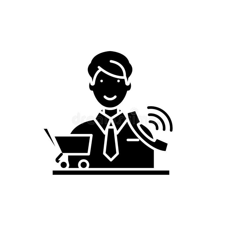 L'icône de noir de télemarketing, dirigent pour se connecter le fond d'isolement Symbole de concept de télemarketing, illustratio illustration stock