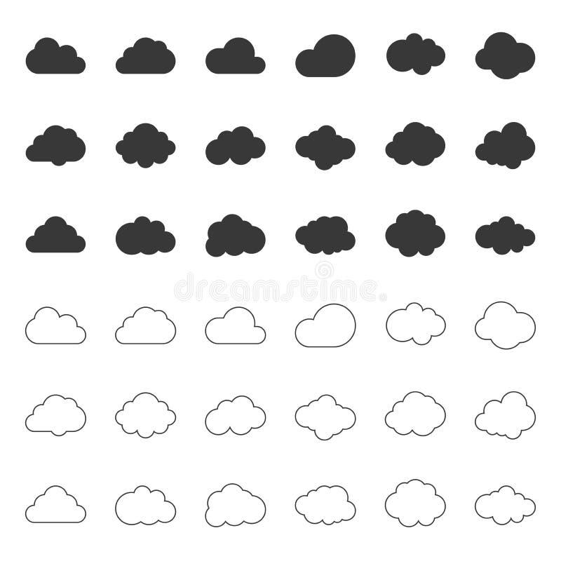 L'icône de nuage, a rempli et décrit pour daigner course editable illustration de vecteur