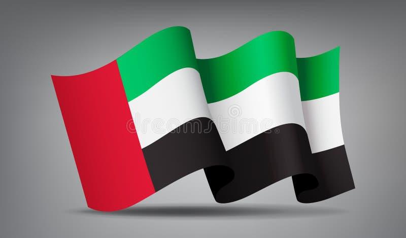 L'icône de ondulation du drapeau 3d des Emirats Arabes Unis a isolé illustration stock