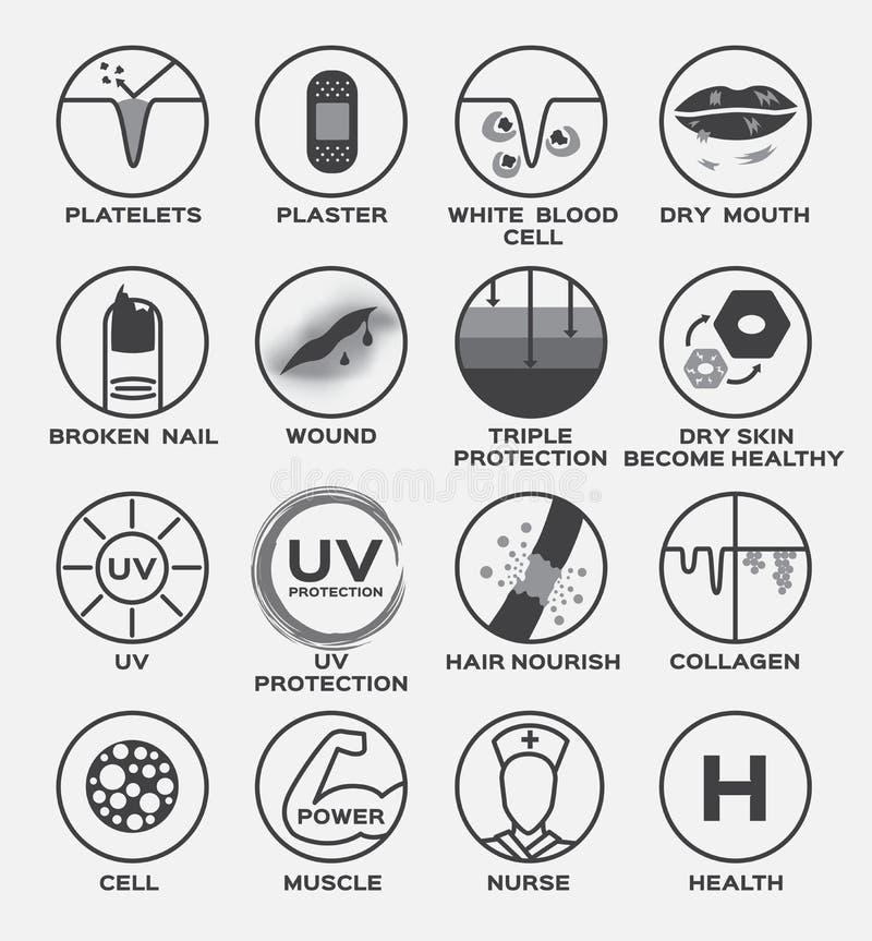 L'icône de peau/les cheveux UV sains secs cassés de protection triple enroulés par ongle de bouche sèche de globule blanc plâtre  illustration de vecteur