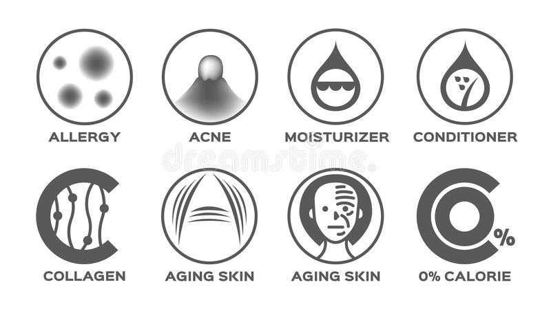 L'icône de peau a placé/le collagène de conditionneur pour cheveux de crème hydratante acné d'allergie vieillissant la calorie de illustration stock