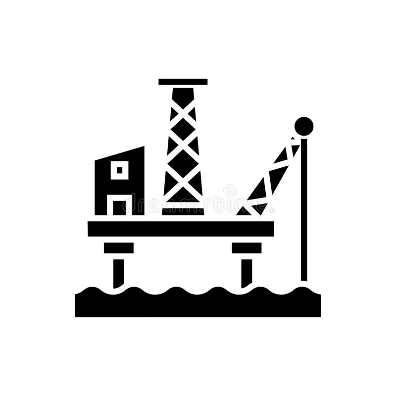 L'icône de plateforme pétrolière, illustration de vecteur, noir se connectent le fond d'isolement illustration libre de droits